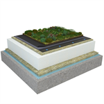 Mono PM 1-layer system for green roofs with a slope ≥3,6° on concrete insulated with mineral wool and expanded polystyrene