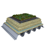 Mono PM 1-layer system for green roofs with a slope ≥3,6° on troughed sheet insulated with mineral wool