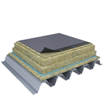 Mono PM 1-layer system of SBS-modified bitumen on troughed sheet insulated with mineral wool
