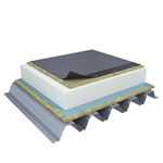 Mono PM 1-layer system of SBS-modified bitumen on troughed sheet insulated with mineral wool and expanded polystyrene