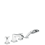31449000 Metropol Classic 4-hole rim mounted bath mixer with cross handle