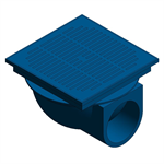 "Z150-90 14"" Square Top Lateral Prom-Deck Drain with Heel-Proof Grate"