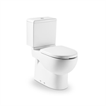 Vitreous china close-coupled WC with dual outlet