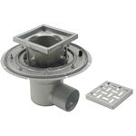 Adjustable Floor Drain with 8in. x 8in. Square Top, Deep Body, Side Outlet - BFD-110-SO