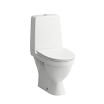 KOMPAS Floorstanding WC combination, rimless, washdown, with 2 fixing holes