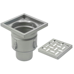 On-Grade Non-Adjustable Floor Drain with 8in. x 8in. Square Top, Shallow Body - BFD-320