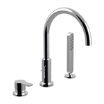 Surf - 3-hole single-lever mixer deck-mounted for bath's border