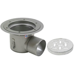Floor Drain with 12in. Round Top, with Surface Membrane Clamp, Shallow Body, Side Outlet - BFD-540-SO