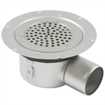 Side Outlet Shower Drain with Round Top, Surface Membrane Clamp - BSR-700