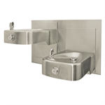 "Model 1117L, ""Hi-Lo"" Wall Mounted Dual Stainless Steel Drinking Fountains"