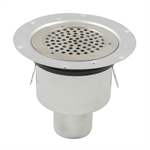 Bottom Outlet Shower Drain with Round Top, Surface Membrane Clamp - BSR-800