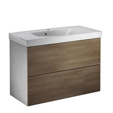 1892 Logic washbasin set, with front in Woody Grey