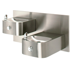"Model 1119, ""Hi-Lo"" Wall Mounted Stainless Steel Drinking Fountains with a Back Panel"