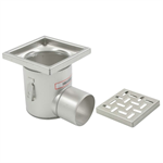 On-Grade Non-Adjustable Floor Drain with 8in. x 8in. Square Top, Deep Body, Side Outlet - BFD-310-SO