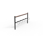 Goggle, bicycle rack single sided, 5 bicycles and leaning bench top