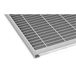 Entrance grating N6 with L-profile edge bar and kerb angle frame