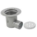 Floor Drain with 12in. Round Top, with Surface Membrane Clamp, Deep Body, Side Outlet - BFD-530-SO