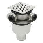 Bottom Outlet Shower Drain with Square Top, Side Inlets - BSS-400
