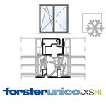 Window Forster unico XS HI, frame 8mm, Double-leaf