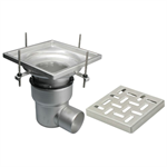 On-Grade Adjustable Floor Drain with 12in. x 12in. Square Top, Large Sump, Side Outlet - BFD-240-SO