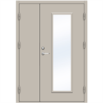 Steel Door SDE4210 GS1F - Double Unequal