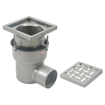 On-Grade Adjustable Floor Drain with 8in. x 8in. Square Top, Large Sump, Side Outlet - BFD-210-SO