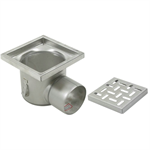 On-Grade Non-Adjustable Floor Drain with 12in. x 12in. Square Top, Shallow Body, Side Outlet - BFD-340-SO