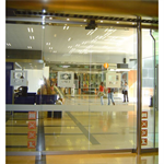 Automatic door - Bi-parting sliding with fixed leaves, reduced top rail only