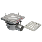 On-Grade Adjustable Floor Drain with 8in. x 8in. Square Top, Small Sump, Side Outlet - BFD-220-SO