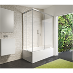 Duscho Gravity - 2 Fixed + Slider twin doors for bath in a corner