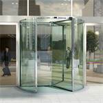 Glass 4-wing revolving door 1.8 to 3.0 m ∅