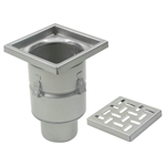On-Grade Non-Adjustable Floor Drain with 12in. x 12in. Square Top, Deep Body - BFD-330