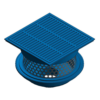 Z150 85 14 Square Top Prom Deck Drain With Stainless Steel Perforated Extension Zurn Industries Free Bim Object For Revit Revit Bimobject