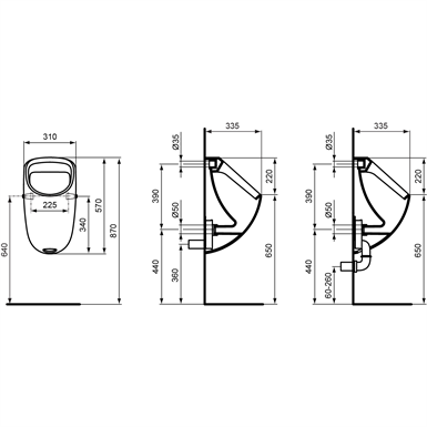 connect urinal 310x335mm back inlet ideal standard free bim object for 3ds max archicad. Black Bedroom Furniture Sets. Home Design Ideas