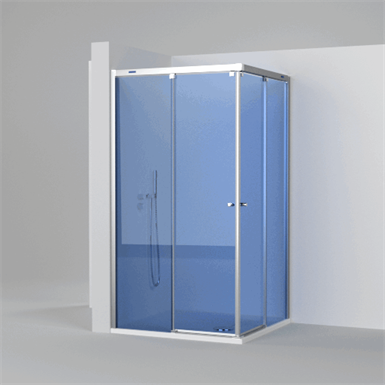 Duscho Pulsar 2 Fixed Slider Twin Doors For Shower In