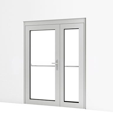 Exterior Double Door W Panic Push Bar Assa Abloy Nl
