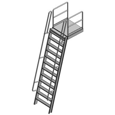 SHIPS LADDER W/ WALK-THRU & PLATFORM (Precision Ladders