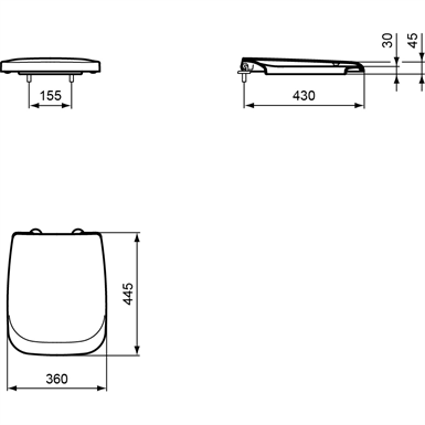 Ventuno Seat And Cover For Back To Wall And Wall Mounted Wc Pan