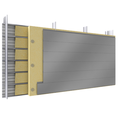 Double skin with steel alu siddings H position trays spacer insulation
