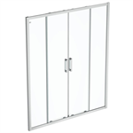 connect 2 slider door 170 clear glass bright silver finish