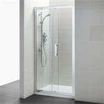 synergy 1000mm slider door, idealclean clear glass, bright silver finish