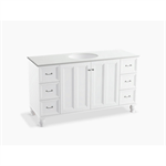 """damask® 60"""" bathroom vanity cabinet with furniture legs, 2 doors and 6 drawers"""