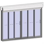 sliding window 3 rails 6 leaves with shutter