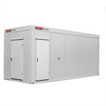 zecon - wc-container 6,0m x 2,5m damen / herren, flurteil, kleinküche