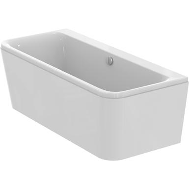 d-form-badewanne 1800 x 800 mm mit ablauf, mit frontschürze und vormontiertem tragegestell