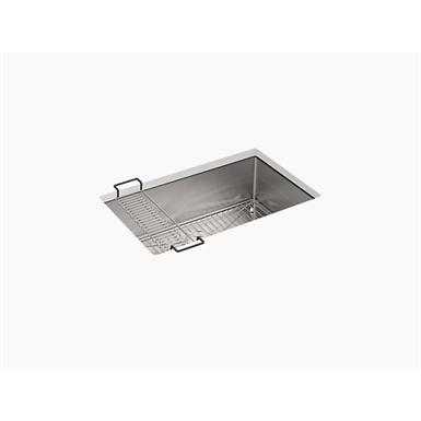 """strive® 29"""" x 18-5/16"""" x 9-5/16"""" under-mount medium single bowl kitchen sink with sink rack"""