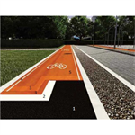 Cycle lanes, pavements and street furniture in synthetic resin