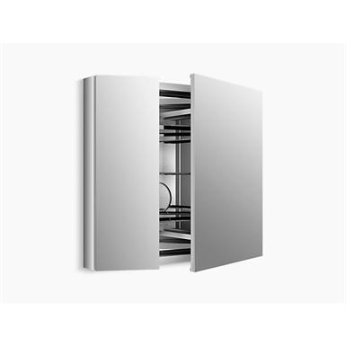 "verdera®34"" w x 30"" h aluminum medicine cabinet with adjustable magnifying mirror and slow-close door"