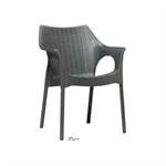 ガーデンファニチャー プラスチック オリンピア アームチェアー スキャブ SCB-AC05G 33160400 グレー