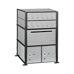 2200 Series Aluminum Mailboxes-Rack Ladder System-3 Unit High Wall Installation